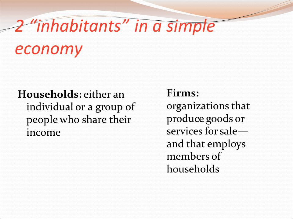 2 inhabitants in a simple economy Households: either an individual or a group of people who share their income Firms: organizations that produce goods or services for sale— and that employs members of households