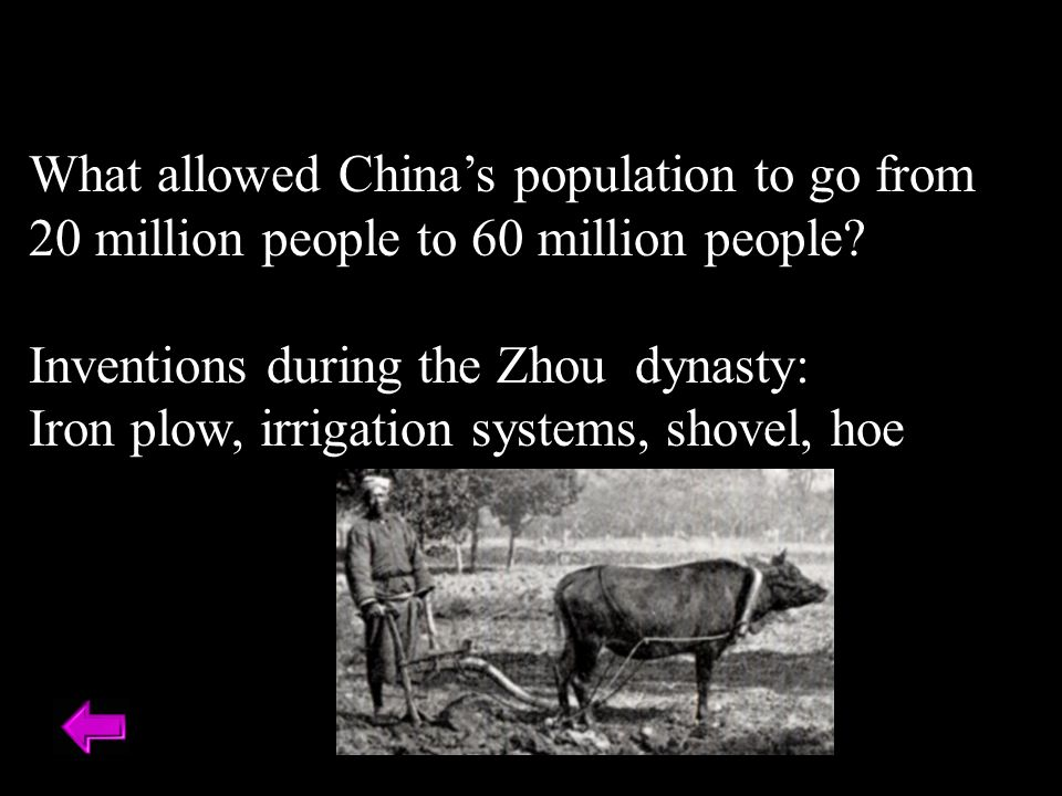 What allowed China's population to go from 20 million people to 60 million people.