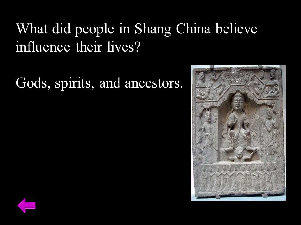 What did people in Shang China believe influence their lives Gods, spirits, and ancestors.