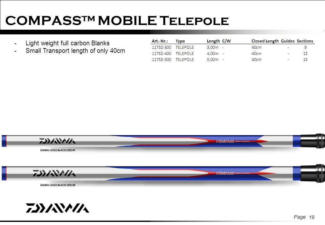 d3f31772f1c 19 Page 19 COMPASS™ MOBILE Telepole -Light weight full carbon Blanks -Small  Transport length of only 40cm
