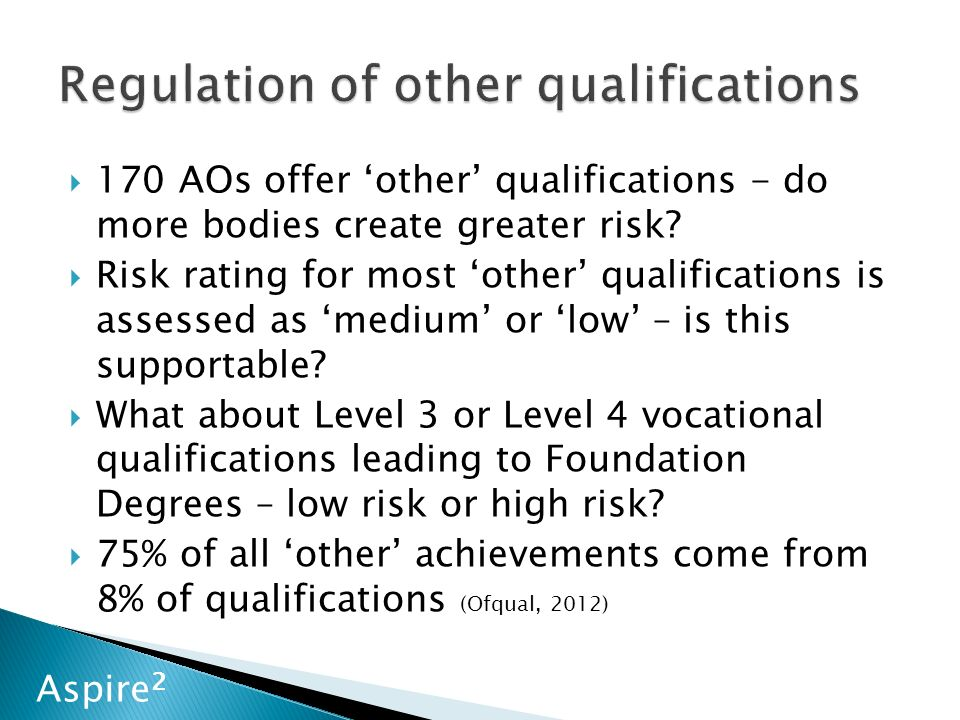Aspire 2  170 AOs offer 'other' qualifications - do more bodies create greater risk.