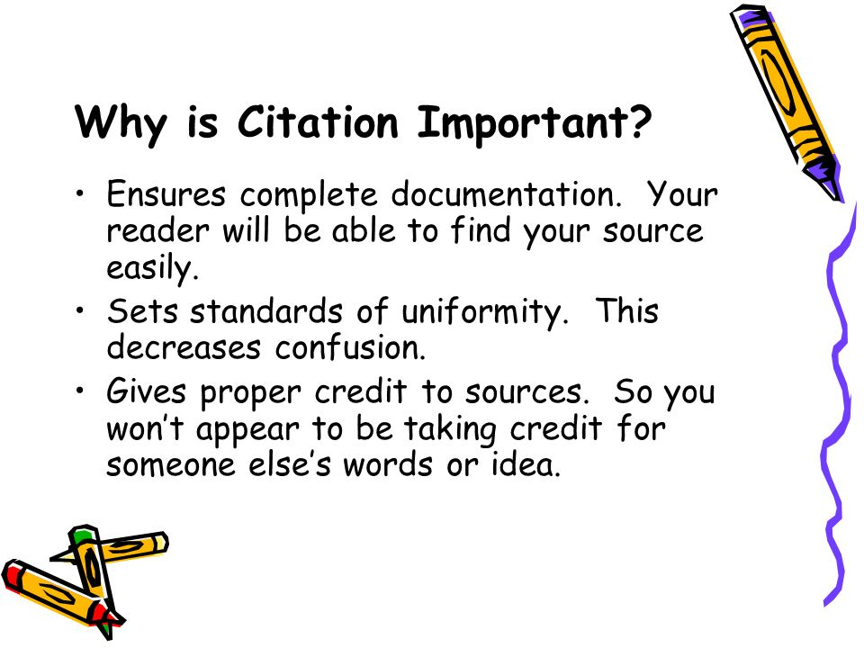 Why is Citation Important. Ensures complete documentation.