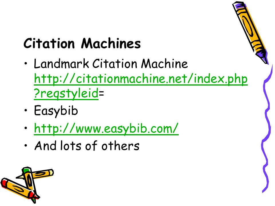 Citation Machines Landmark Citation Machine   reqstyleid=   reqstyleid Easybib   And lots of others