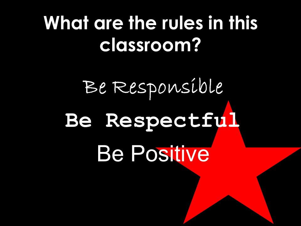 What are the rules in this classroom Be Responsible Be Respectful Be Positive