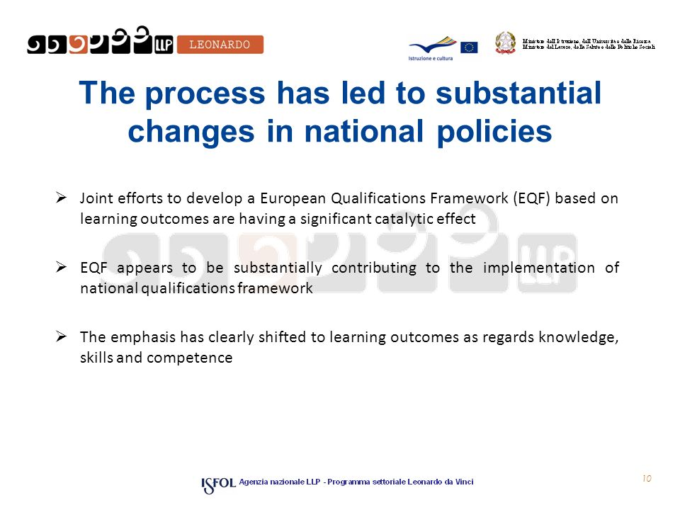The process has led to substantial changes in national policies  Joint efforts to develop a European Qualifications Framework (EQF) based on learning outcomes are having a significant catalytic effect  EQF appears to be substantially contributing to the implementation of national qualifications framework  The emphasis has clearly shifted to learning outcomes as regards knowledge, skills and competence 10