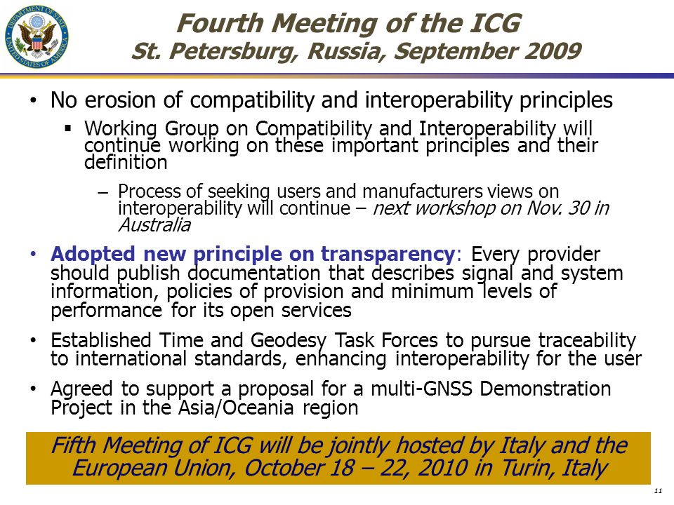 Fourth Meeting of the ICG St.