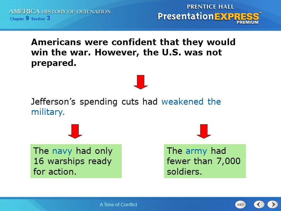 Chapter 9 Section 3 A Time of Conflict Americans were confident that they would win the war.