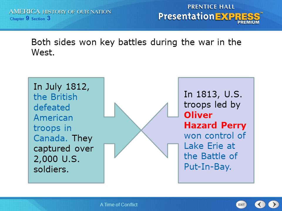 Chapter 9 Section 3 A Time of Conflict In July 1812, the British defeated American troops in Canada.