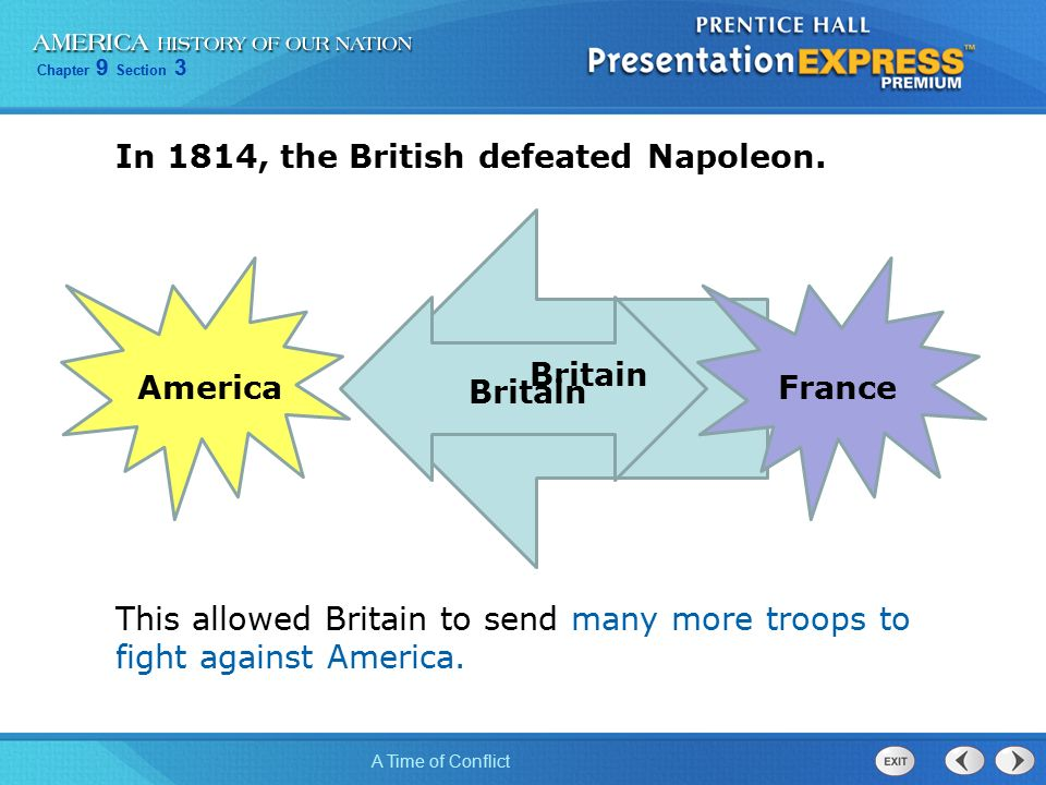 Chapter 9 Section 3 A Time of Conflict In 1814, the British defeated Napoleon.