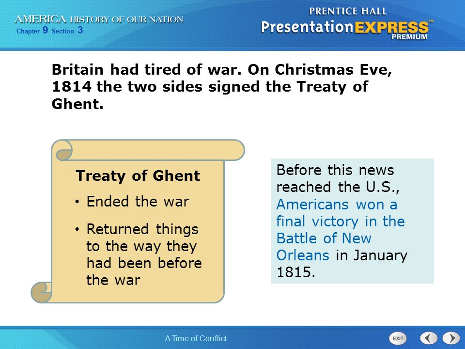 Chapter 9 Section 3 A Time of Conflict Britain had tired of war.
