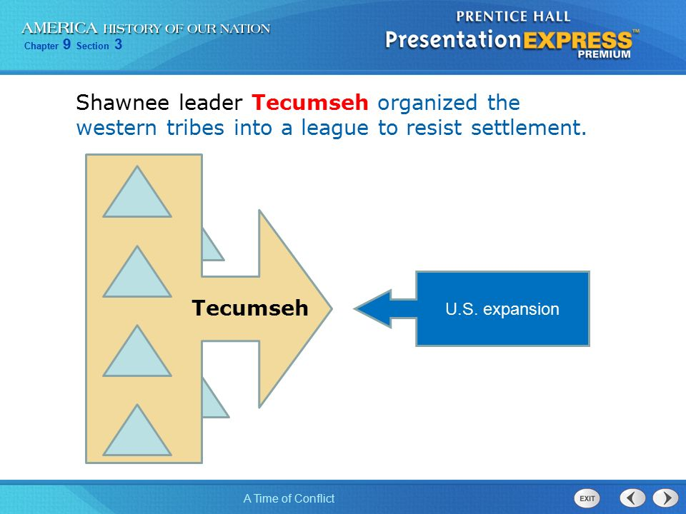 Chapter 9 Section 3 A Time of Conflict Shawnee leader Tecumseh organized the western tribes into a league to resist settlement.