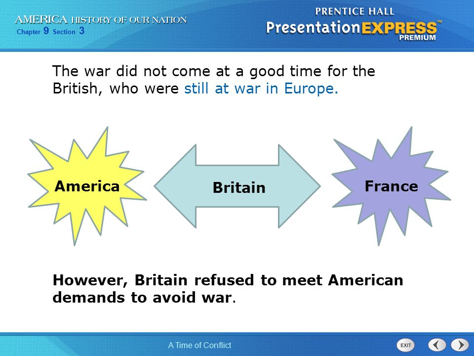 Chapter 9 Section 3 A Time of Conflict The war did not come at a good time for the British, who were still at war in Europe.