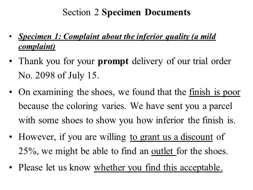 Chapter eleven complaints and adjustments section 1 introduction section 2 specimen documents specimen 1 complaint about the inferior quality a mild complaint altavistaventures Gallery