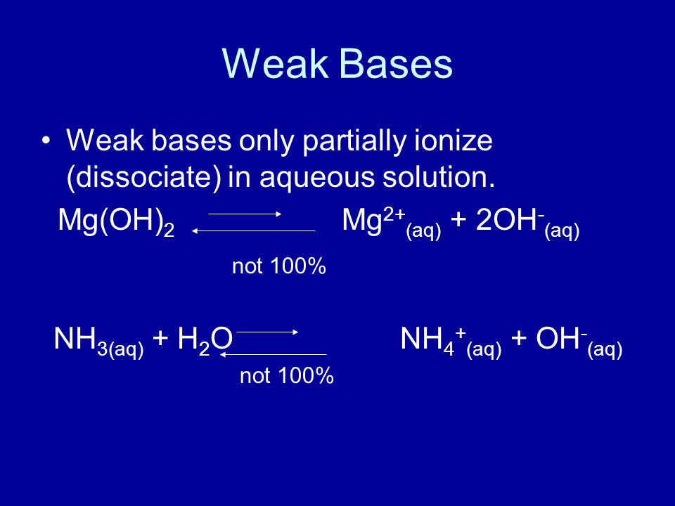Weak Bases Weak bases only partially ionize (dissociate) in aqueous solution.