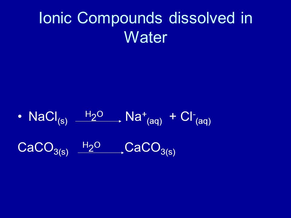 Ionic Compounds dissolved in Water NaCl (s) H 2 O Na + (aq) + Cl - (aq) CaCO 3(s) H 2 O CaCO 3(s)