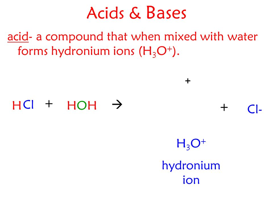 Acids & Bases acid- a compound that when mixed with water forms hydronium ions (H 3 O + ).
