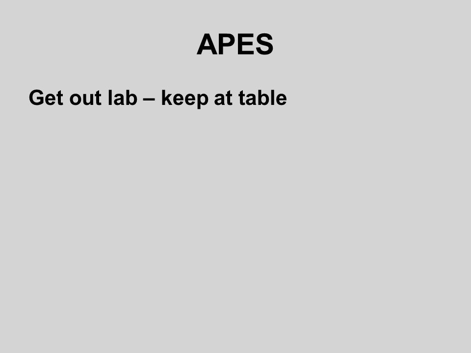 APES Get out lab – keep at table