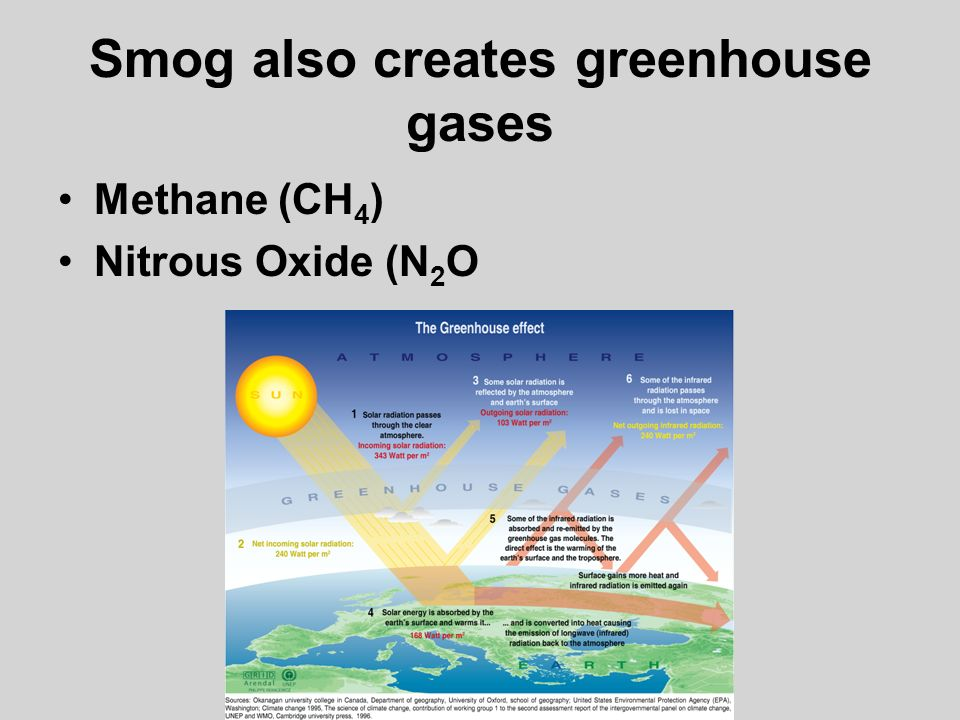 Smog also creates greenhouse gases Methane (CH 4 ) Nitrous Oxide (N 2 O