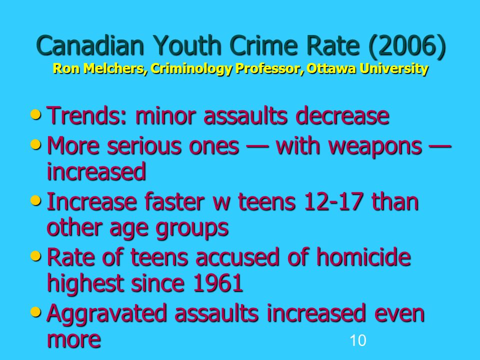 10 Canadian Youth Crime Rate (2006) Ron Melchers, Criminology Professor, Ottawa University Trends: minor assaults decrease Trends: minor assaults decrease More serious ones — with weapons — increased More serious ones — with weapons — increased Increase faster w teens 12-17 than other age groups Increase faster w teens 12-17 than other age groups Rate of teens accused of homicide highest since 1961 Rate of teens accused of homicide highest since 1961 Aggravated assaults increased even more Aggravated assaults increased even more