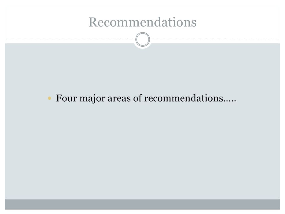 Recommendations Four major areas of recommendations…..