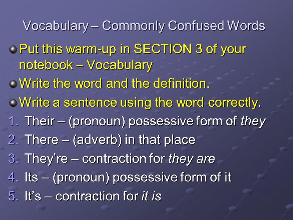 vocabulary commonly confused words put this warm up in section 3