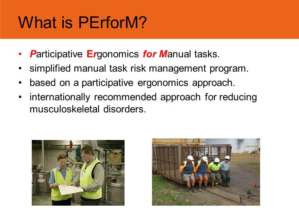 Participative ergonomics for manual tasks at 125 deakin ave.
