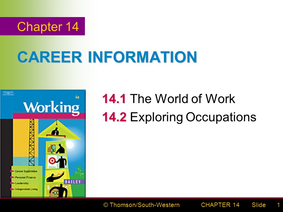 © Thomson/South-WesternSlideCHAPTER 141 CAREER INFORMATION The World of Work Exploring Occupations Chapter 14
