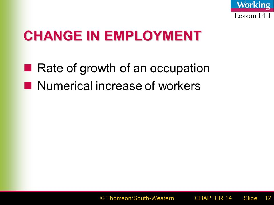 © Thomson/South-WesternSlideCHAPTER 1412 CHANGE IN EMPLOYMENT Rate of growth of an occupation Numerical increase of workers Lesson 14.1