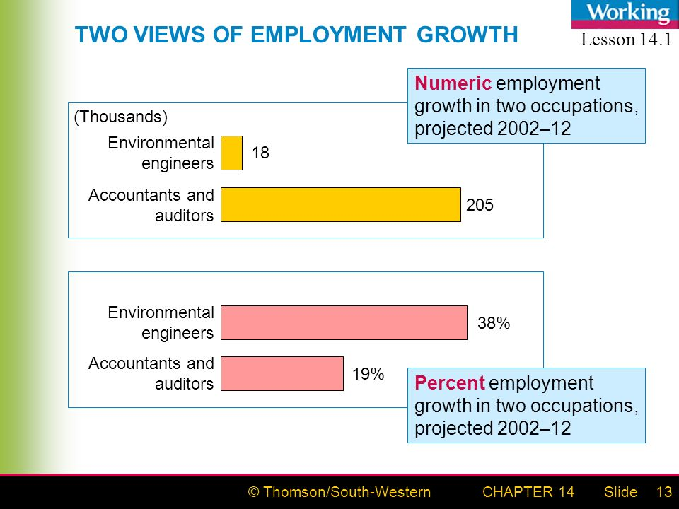 © Thomson/South-WesternSlideCHAPTER 1413 Environmental engineers 38% Accountants and auditors 19% Environmental engineers 18 Accountants and auditors 205 (Thousands) TWO VIEWS OF EMPLOYMENT GROWTH Numeric employment growth in two occupations, projected 2002–12 Percent employment growth in two occupations, projected 2002–12 Lesson 14.1