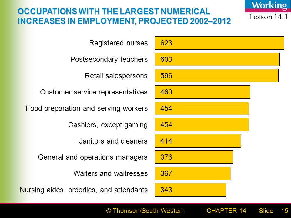 © Thomson/South-WesternSlideCHAPTER 1415 Registered nurses 623 Postsecondary teachers 603 Retail salespersons 596 Food preparation and serving workers 454 Customer service representatives 460 Waiters and waitresses 367 General and operations managers 376 Janitors and cleaners 414 Cashiers, except gaming 454 Nursing aides, orderlies, and attendants 343 OCCUPATIONS WITH THE LARGEST NUMERICAL INCREASES IN EMPLOYMENT, PROJECTED 2002–2012 Lesson 14.1