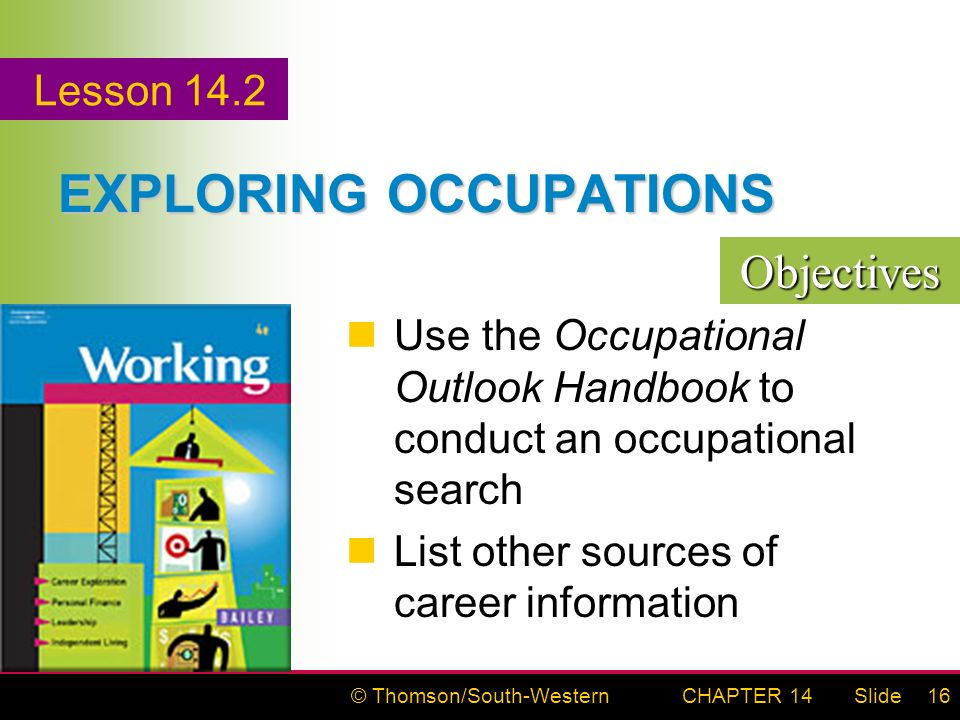 © Thomson/South-WesternSlideCHAPTER 1416 EXPLORING OCCUPATIONS Use the Occupational Outlook Handbook to conduct an occupational search List other sources of career information Objectives Lesson 14.2