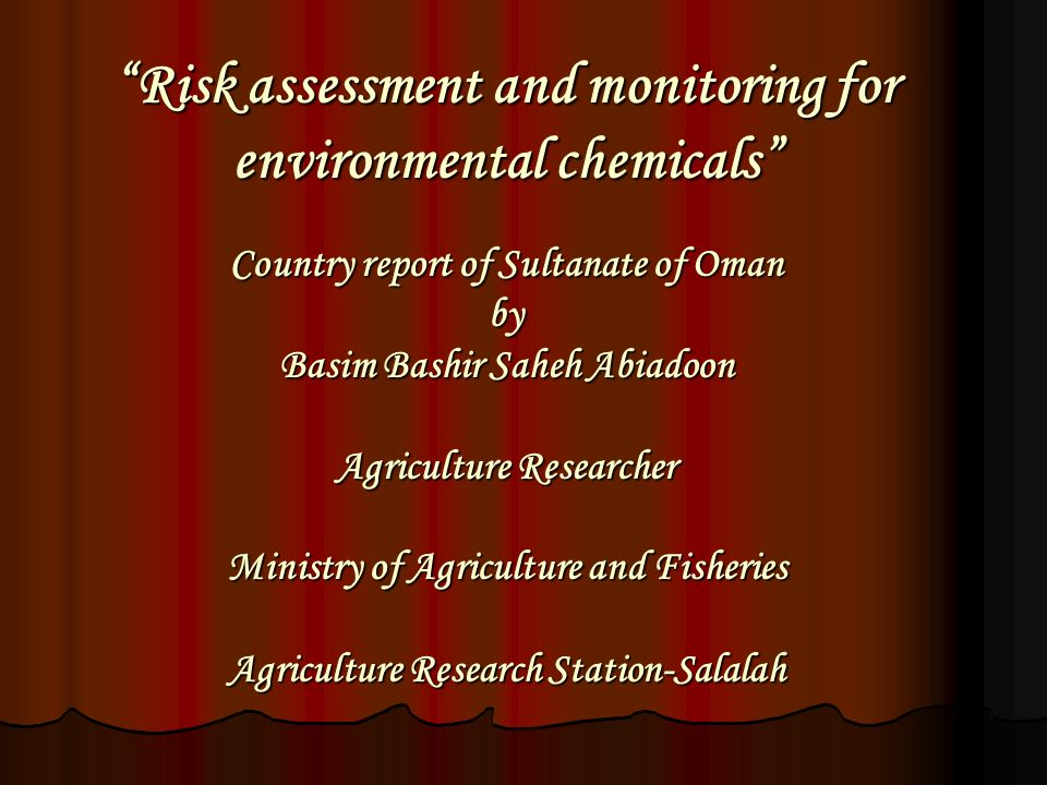 """Risk assessment and monitoring for environmental chemicals"""" Country"""