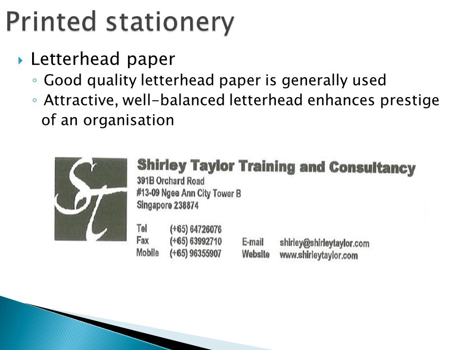 Unit 4 introducing the business letter printed stationery 4 letterhead paper good quality letterhead paper is generally used attractive well balanced letterhead enhances prestige of an organisation thecheapjerseys Gallery