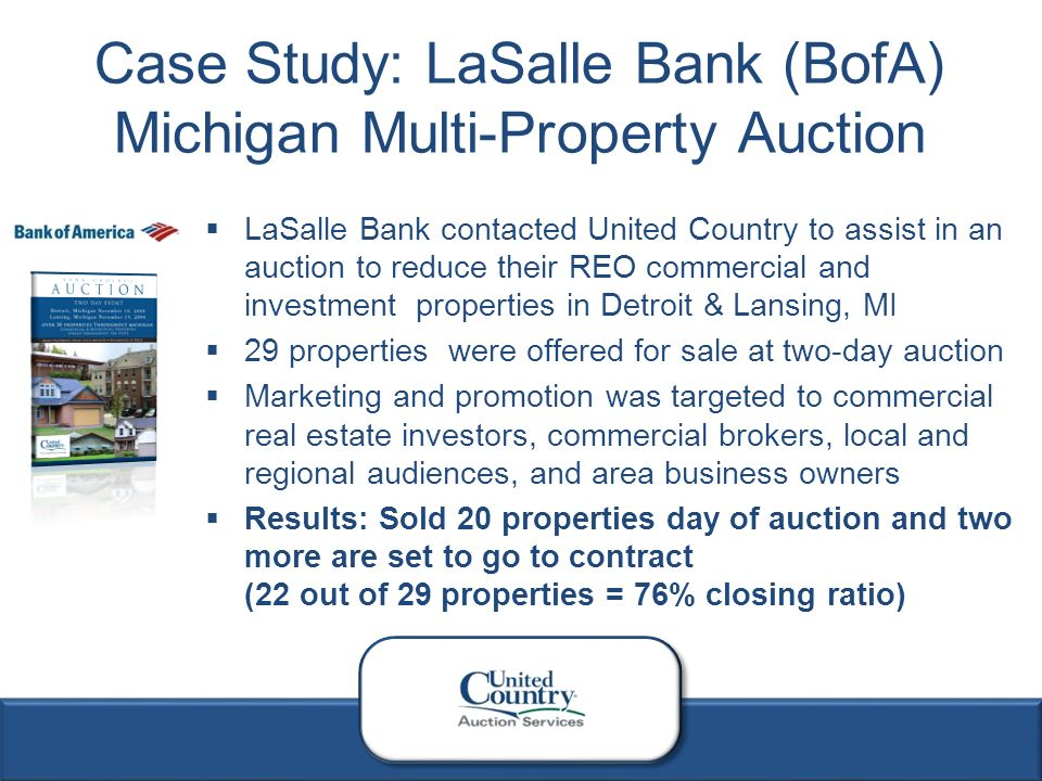 1 Reo Case Studies 2 Bank Of America Contacted United Country To Assist In An Auction To Reduce Their Bank Owned Real Estate Inventory In St Louis Ppt Download
