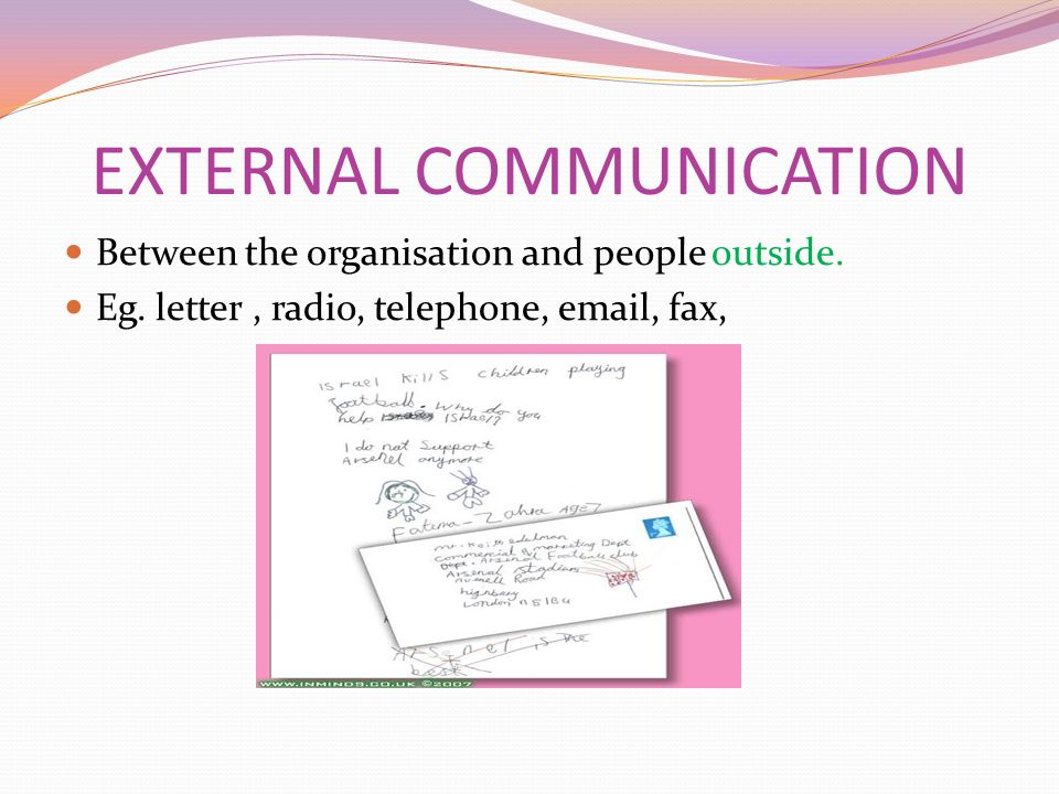 EXTERNAL COMMUNICATION Between the organisation and people outside.