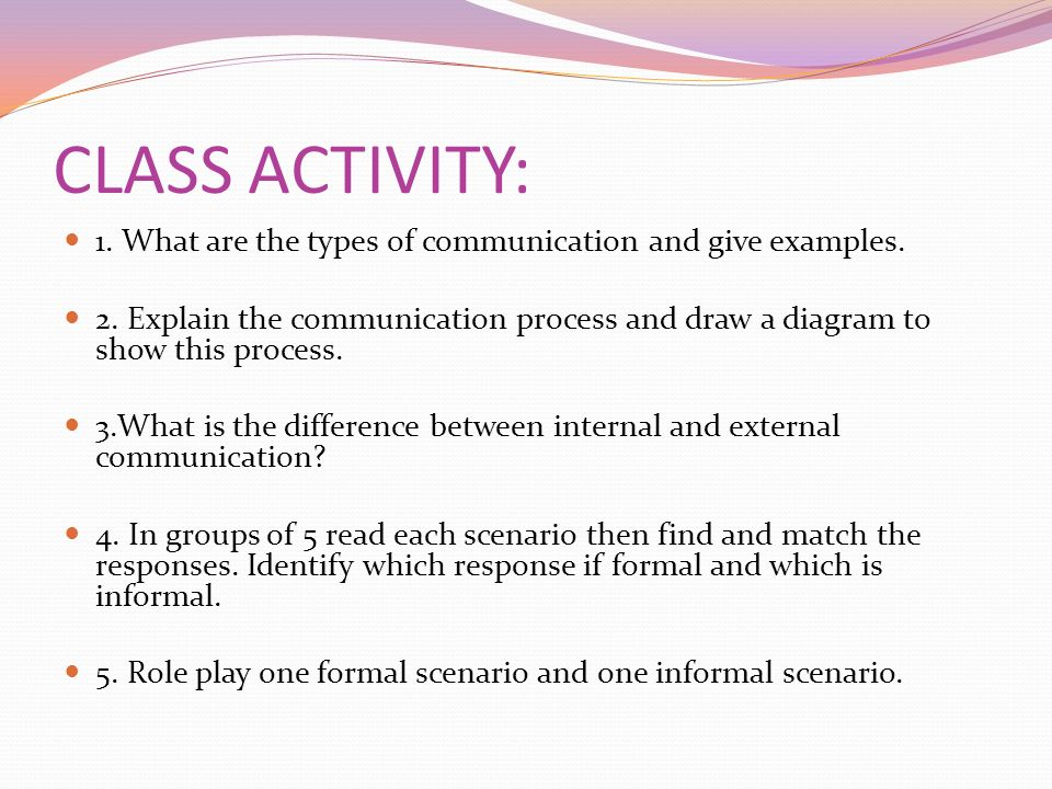 CLASS ACTIVITY: 1. What are the types of communication and give examples.