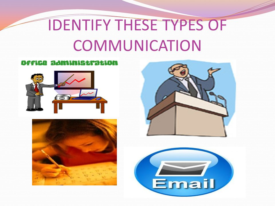 IDENTIFY THESE TYPES OF COMMUNICATION