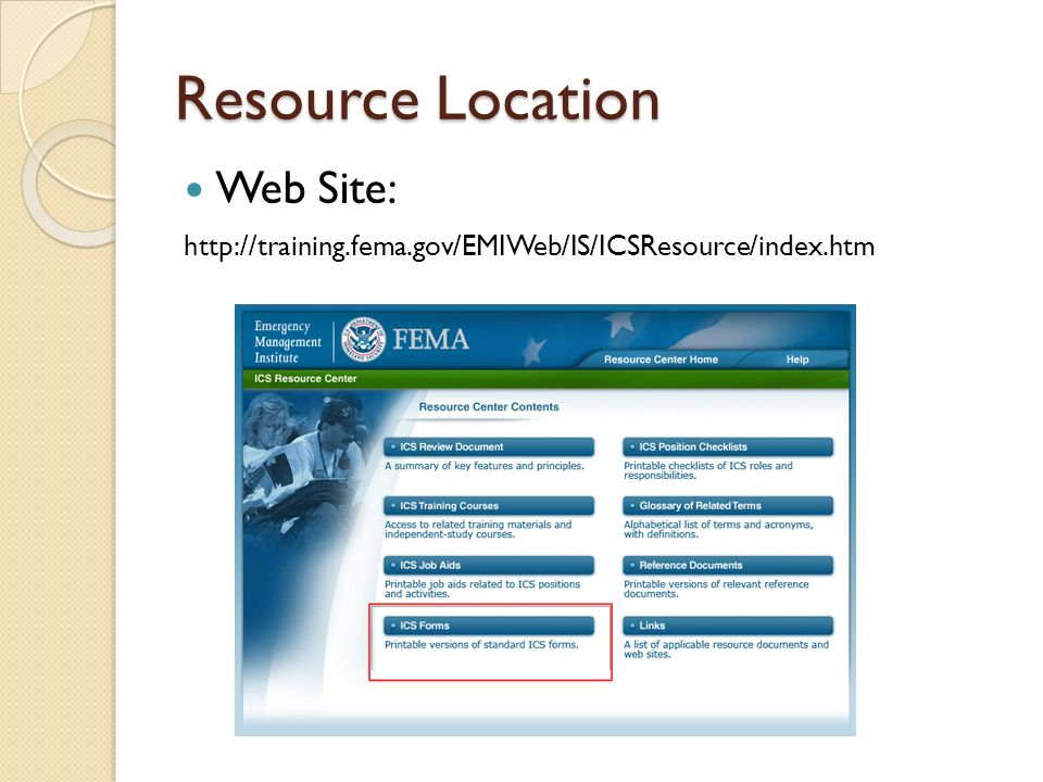 Federal Emergency Management System Incident Command System