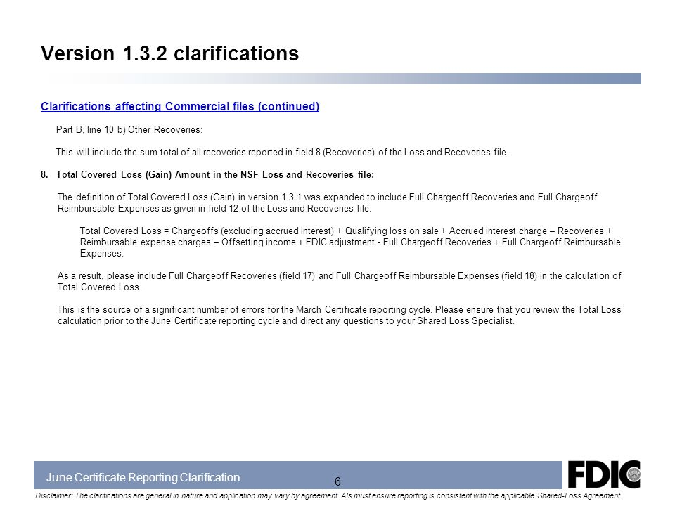 June Certificate Reporting Clarification Disclaimer The