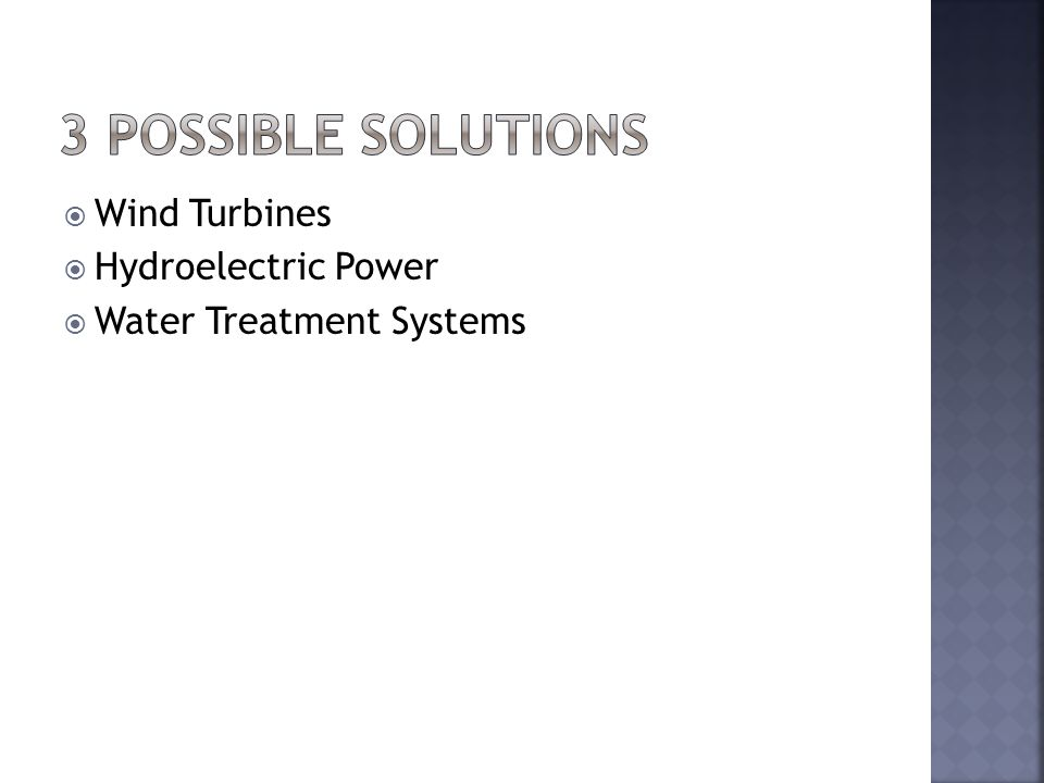  Wind Turbines  Hydroelectric Power  Water Treatment Systems