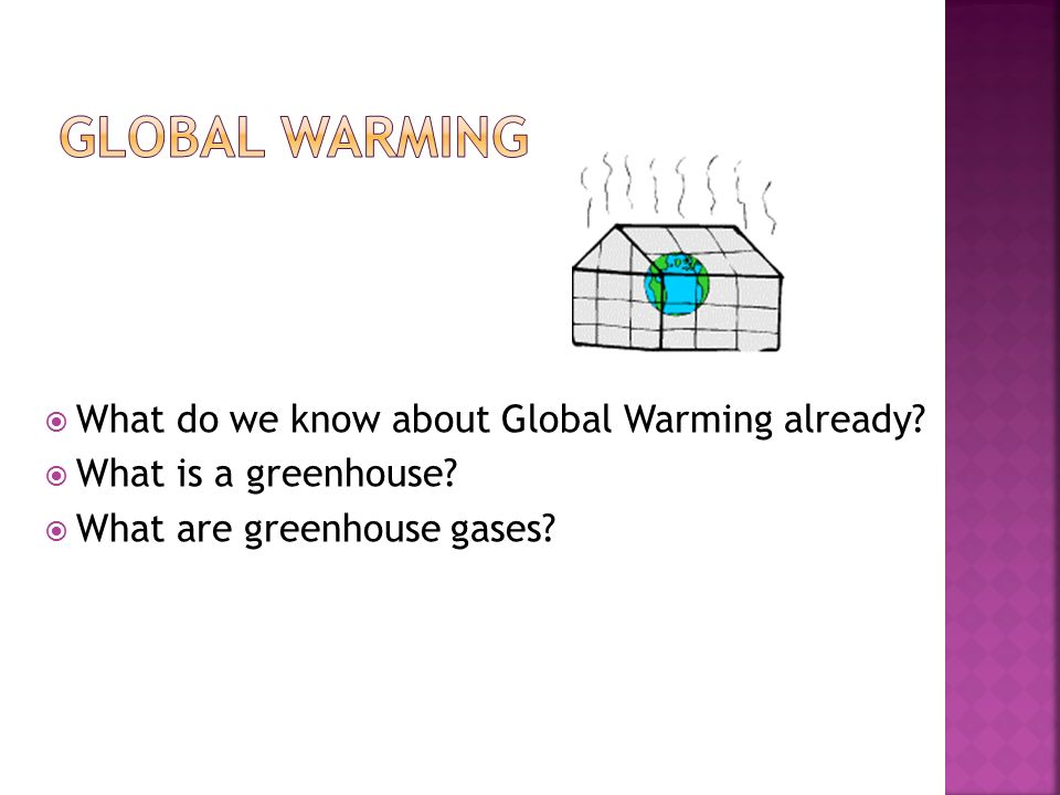  What do we know about Global Warming already.  What is a greenhouse.