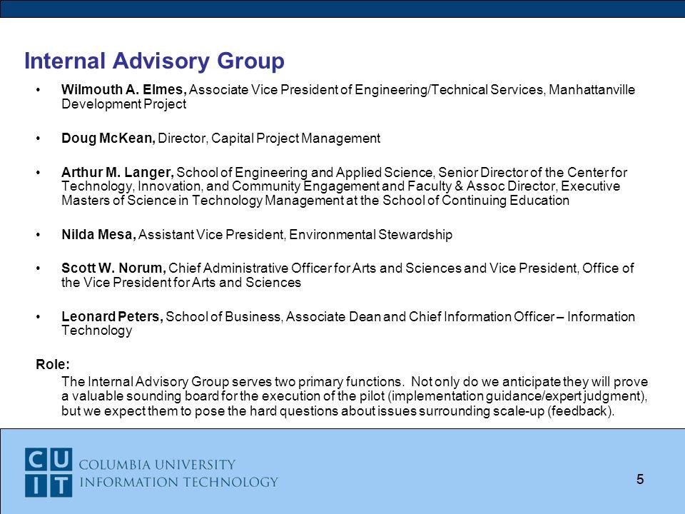 Columbia Universitys Advanced Concept Data Center Pilot Project May