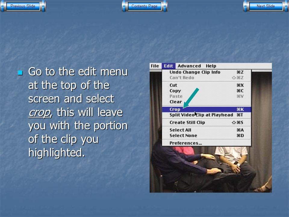 Go to the edit menu at the top of the screen and select crop, this will leave you with the portion of the clip you highlighted.