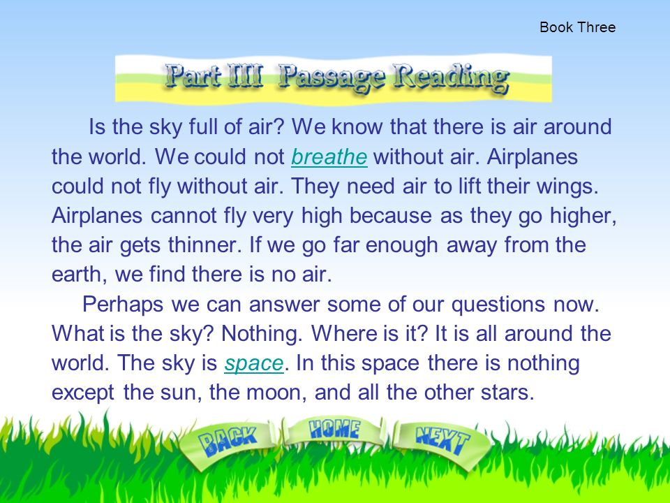 Book Three  Reading Preview 1  Do you know what the sky is