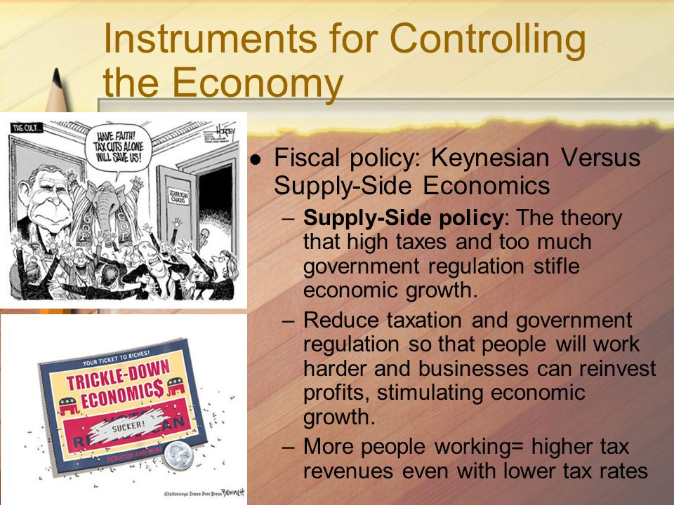 Instruments for Controlling the Economy Fiscal policy: Keynesian Versus Supply-Side Economics –Supply-Side policy: The theory that high taxes and too much government regulation stifle economic growth.