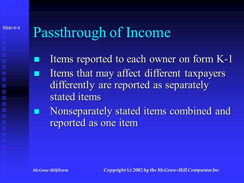 McGraw-Hill/Irwin Copyright (c) 2002 by the McGraw-Hill Companies Inc Passthrough Entities Slide 6-3 Entity must establish tax year and accounting method Entity must establish tax year and accounting method Elections and characterization of income made at entity level Elections and characterization of income made at entity level Information return (1065 or 1120S) filed by entity Information return (1065 or 1120S) filed by entity