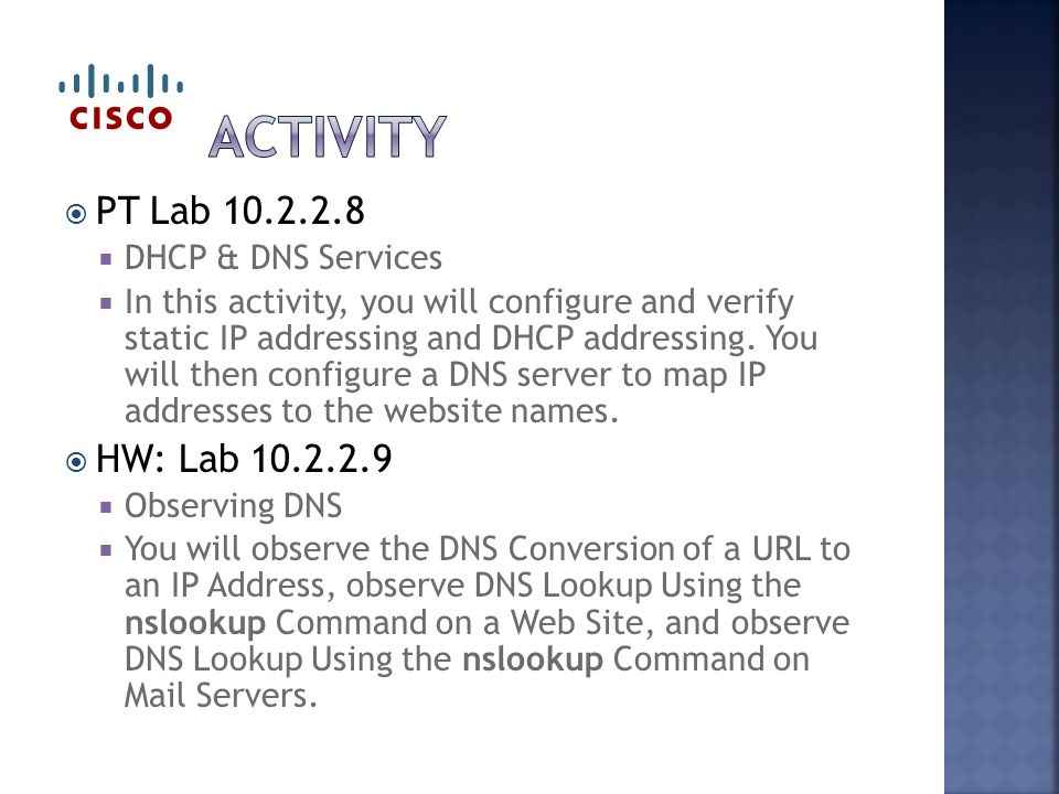  PT Lab  DHCP & DNS Services  In this activity, you will configure and verify static IP addressing and DHCP addressing.