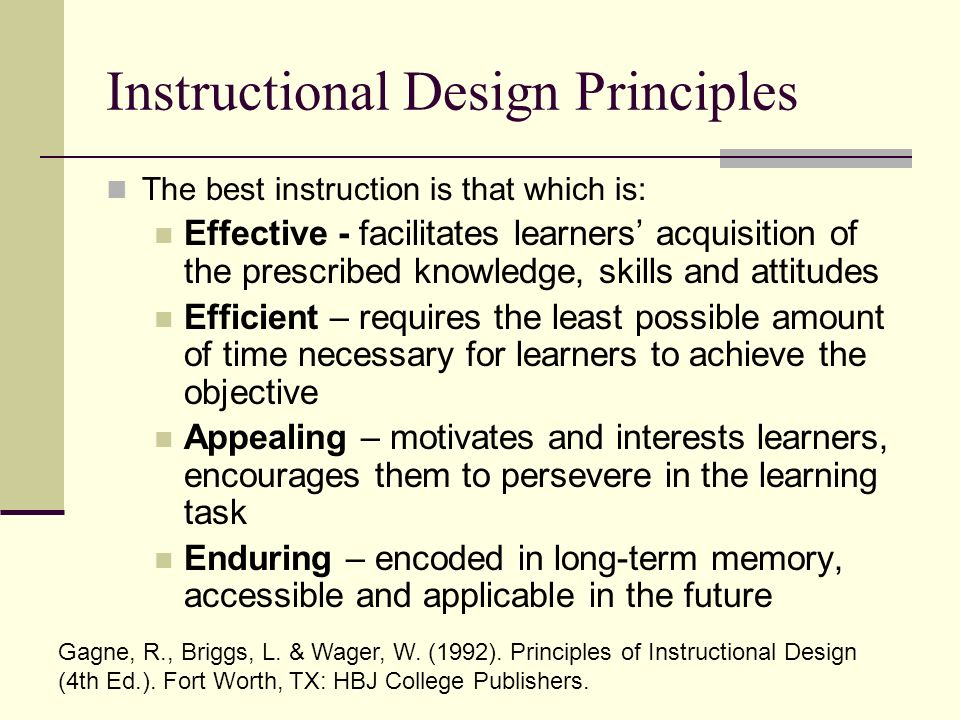 The Pedagogy Of Medical Education Instructional Design Principles The Best Instruction Is That Which Is Effective Facilitates Learners Acquisition Ppt Download