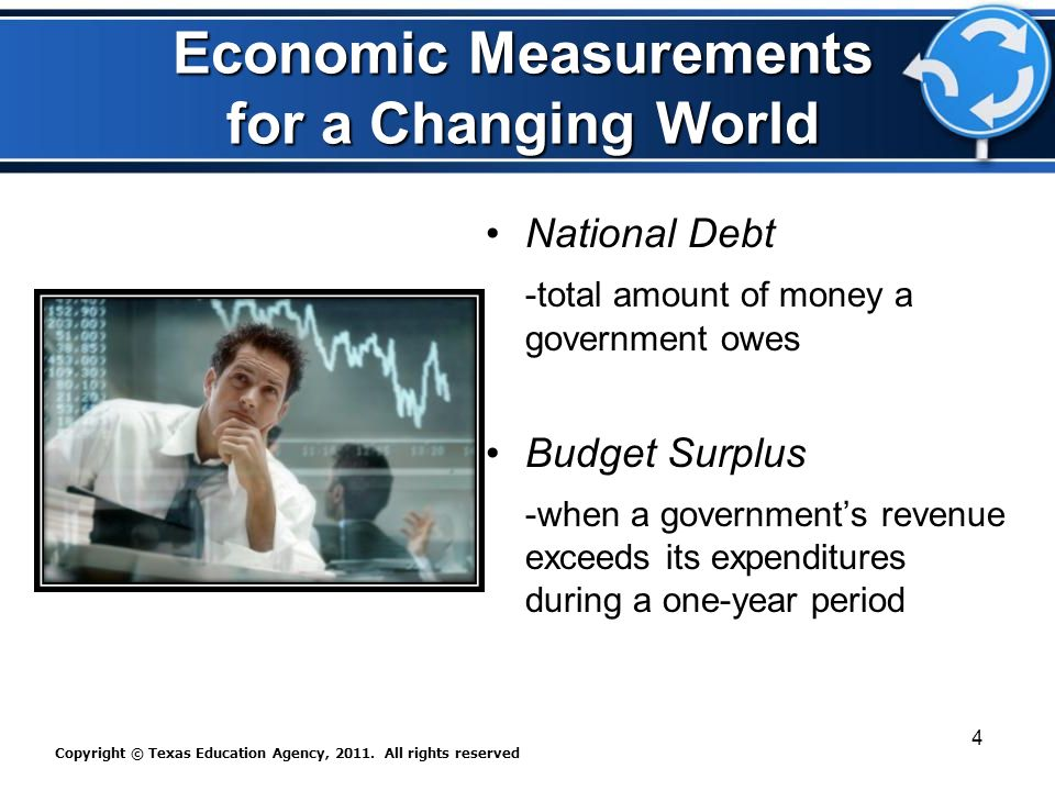 Economic Measurements for a Changing World National Debt -total amount of money a government owes Budget Surplus -when a government's revenue exceeds its expenditures during a one-year period Copyright © Texas Education Agency, 2011.