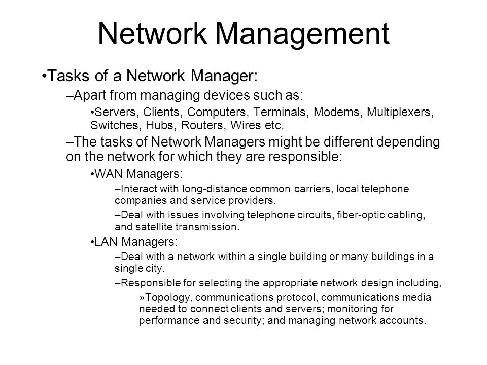 network management network management \u2013overall administration from2 network management tasks of a